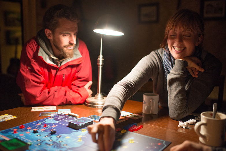 Lian & Steph Playing Pandemic at Cold Antler Farm