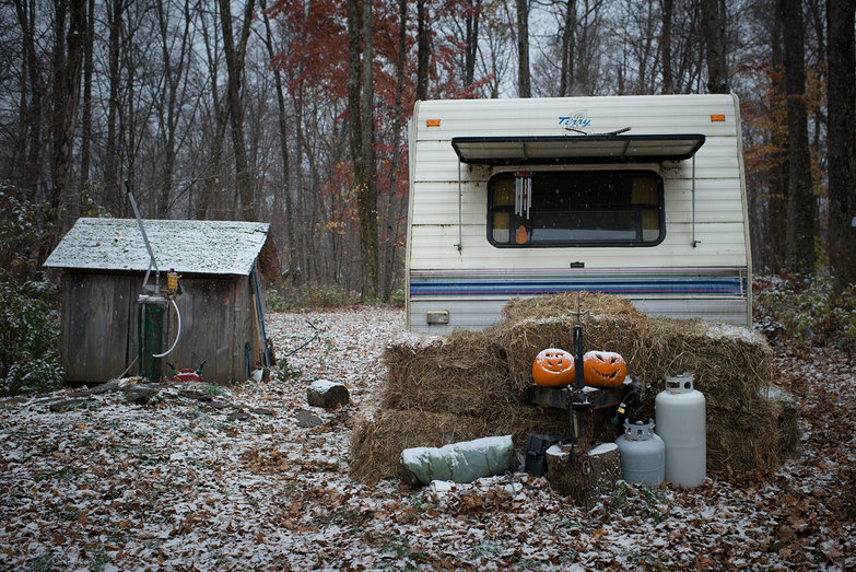 Camper in First Snow of 2013