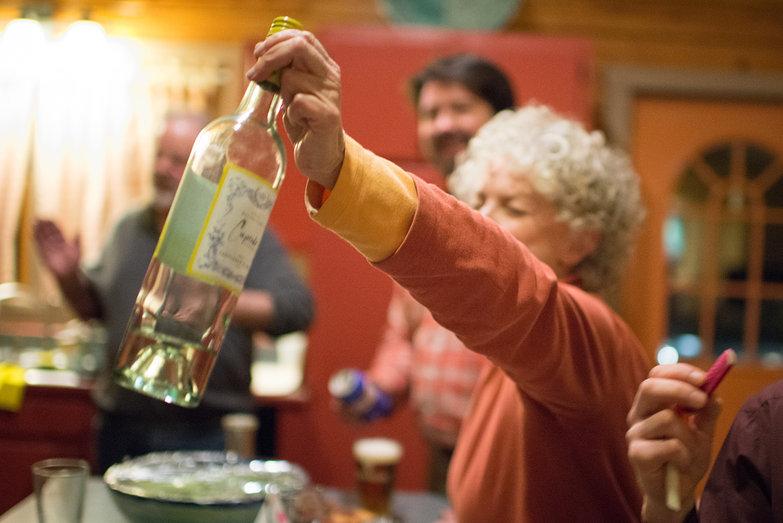 Joan & Wine Bottle at Tara's Surprise Party