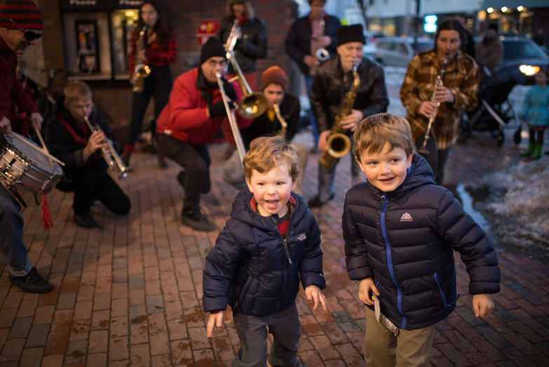 Kids Dancing to Second Line Social Aid & Pleasure Society Brass Band