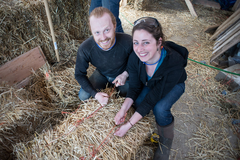 Us Re-Tying Strawbale