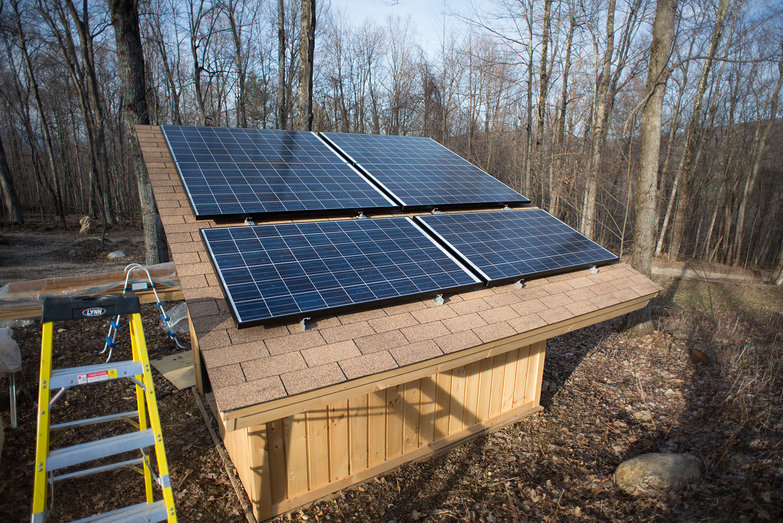 Solar Panels Affixed to Solar Shed Roof