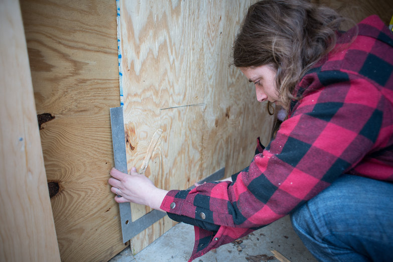 Tara Measuring Plywood for Electric Box Hole