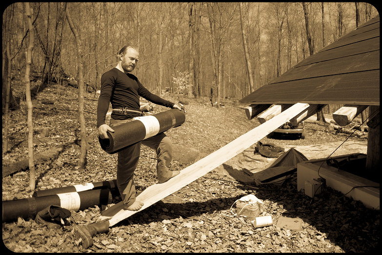 Barefoot Homesteader with Roofing Felt, Circa 2014