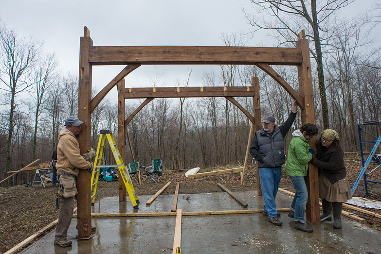 Cottage Timber Frame, Raising Second Bent