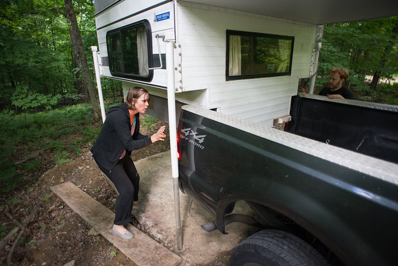 Natasha & Pete Loading Truck Camper