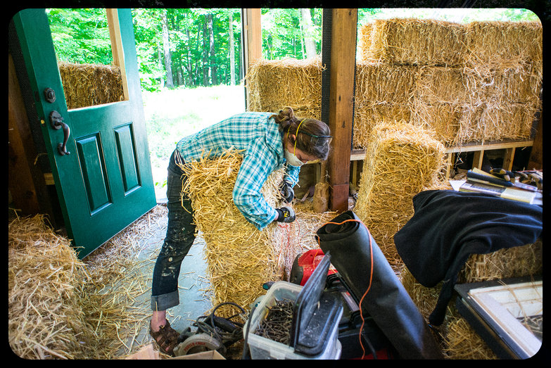 Tara Re-Tying a Straw Bale