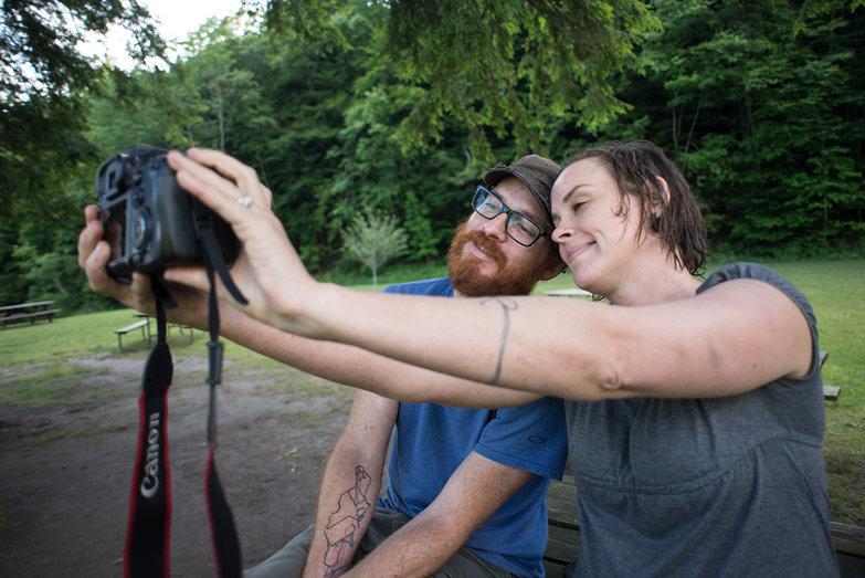 Pete & Natasha Taking Selfie at Emerald Lake