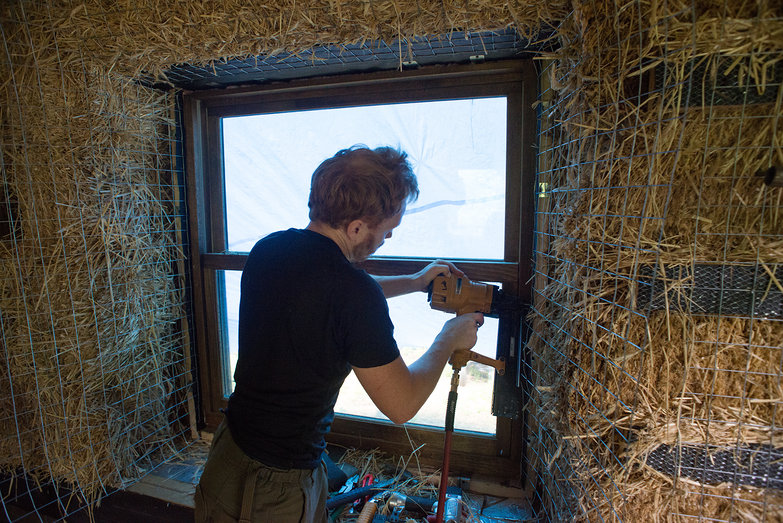 Tyler Stapling Mesh to Make Window Reveals