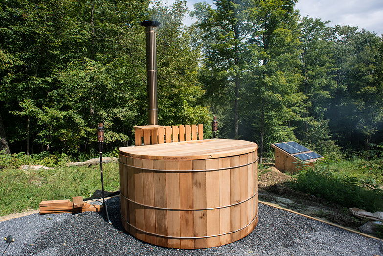 Homesteading and self reliant living we have a wood fired for Wood burning spa