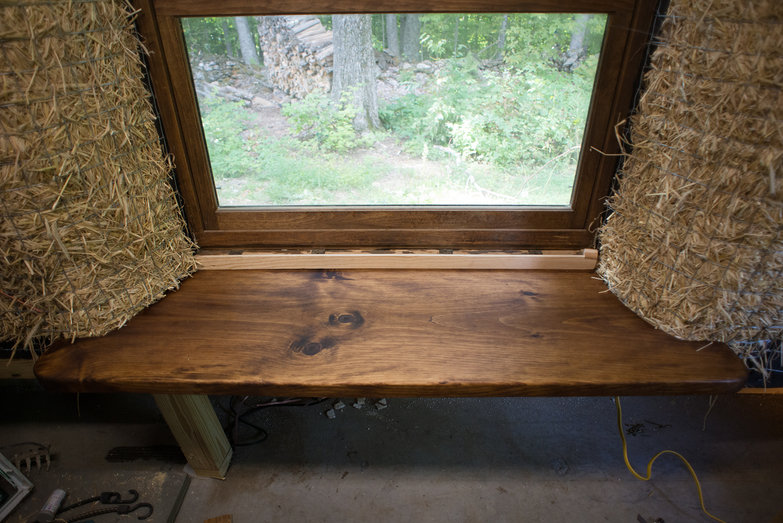 Wooden Window Seat Installed