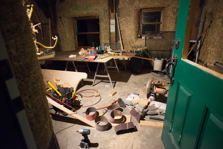 Messy Strawbale House Work Site by Night
