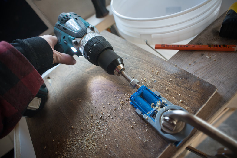 Drilling Pocket Holes For Kitchen Cabinet Door
