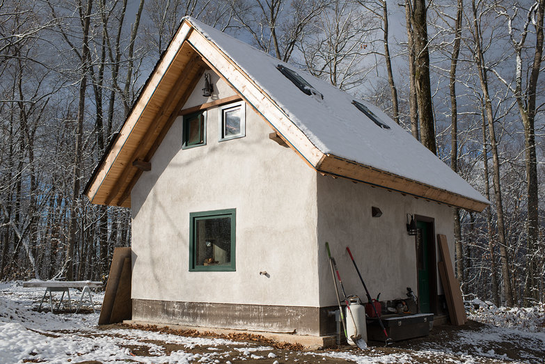 First Snowfall on Off-Grid Cottage