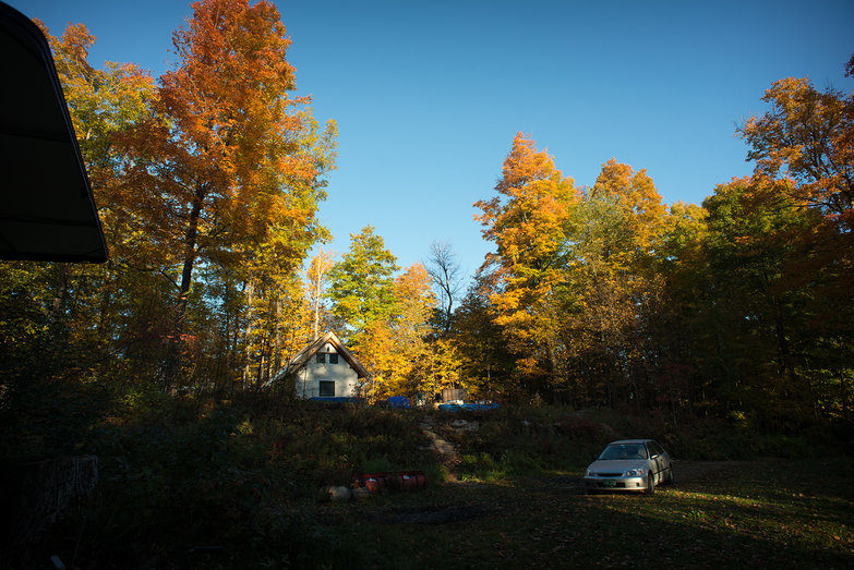 Morning View of Our Homestead with Fall Foliage (As Seen From Camper)