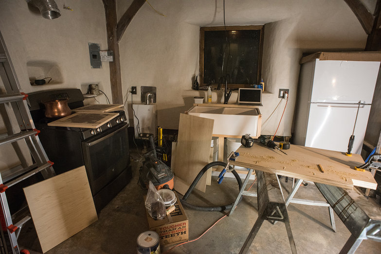 Strawbale Cottage Kitchen in Progress