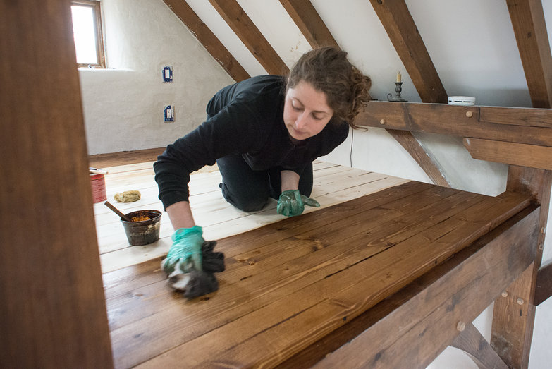 Tara Staining Loft Floorboards