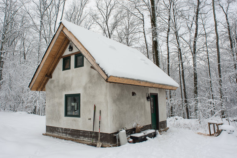 Small Straw Bale & Timber Frame Cottage in the Snow