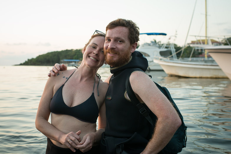 Natasha & Pete Before Night Scuba Dive