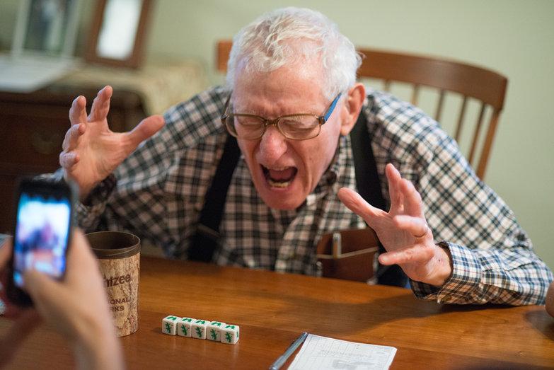 Grandpa Don w/ Yahtzee