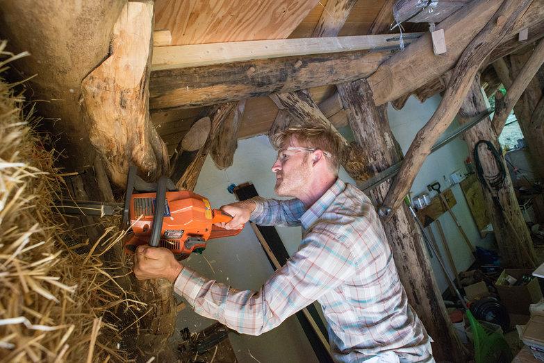 Josh Chainsawing Speaker Nook