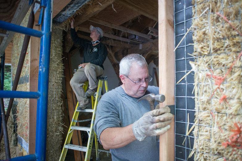 Dale Working on Door Framing