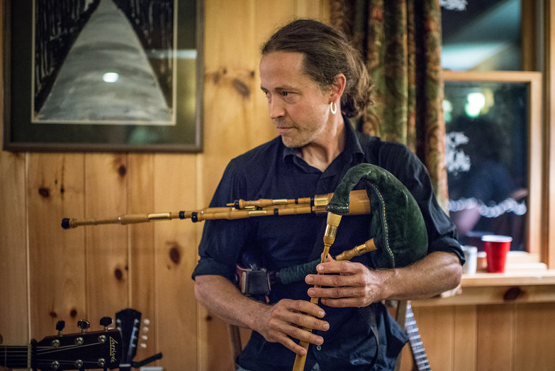 Dan Houghton of Cantrip Scottish Trio Playing Highland Border Pipes