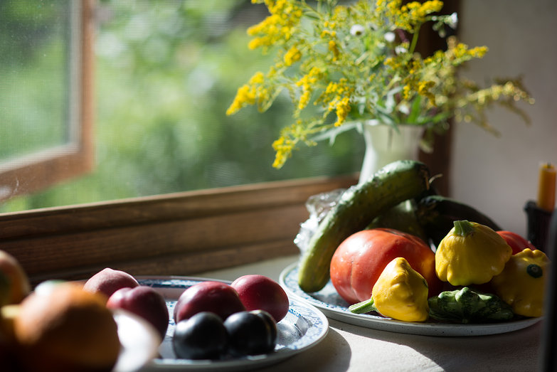 Vegetables in the Kitchen Window Sill