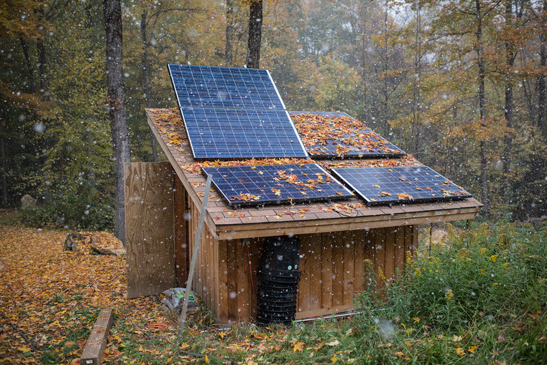Fall Snow Flurry On Solar Shed
