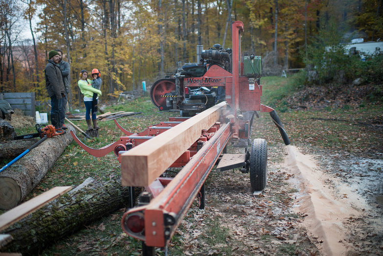 Dave Cutting Cherry Tree w/ Wood Mizer