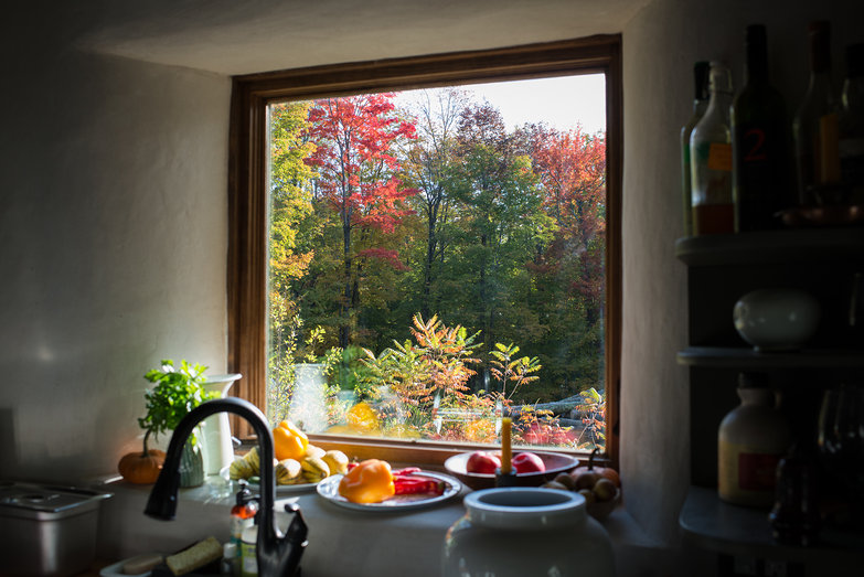 View from Cottage Kitchen Window: Colorful Fall Leaves on our Land!