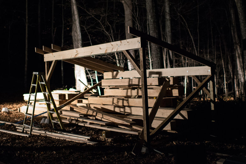 Woodshed to Cover Milled Lumber in Progress, by Night