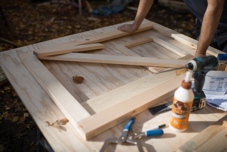 Outhouse Dutch Door in Progress