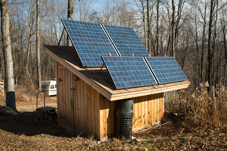 Solar Panels at Winter Angle on Solar Shed