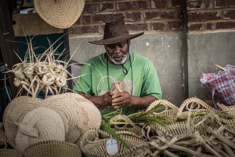 Charleston Man Making Sweetgrass Baskets