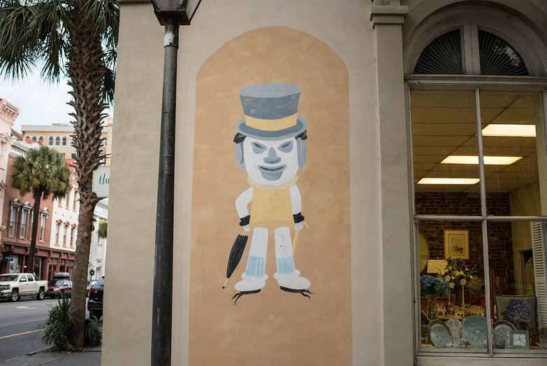 Charleston Haberdashery Mural (Man Made of Hats)