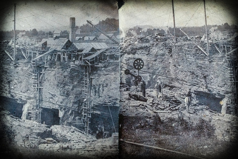 Old Photograph of Slate Quarry