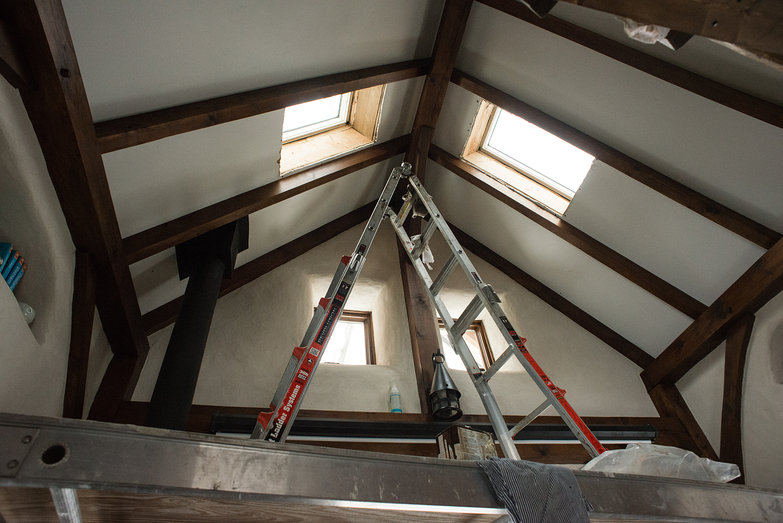 Scaffolding Set Up for Re-Staining Beams and Re-Painting Drywall