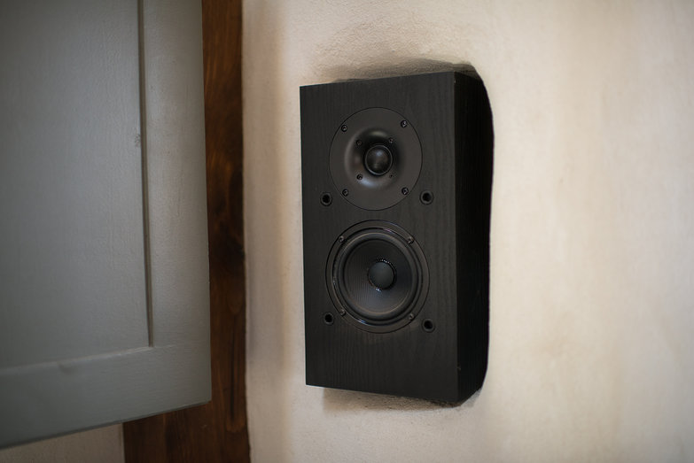 Right Speaker in Straw Bale Cottage Stereo System