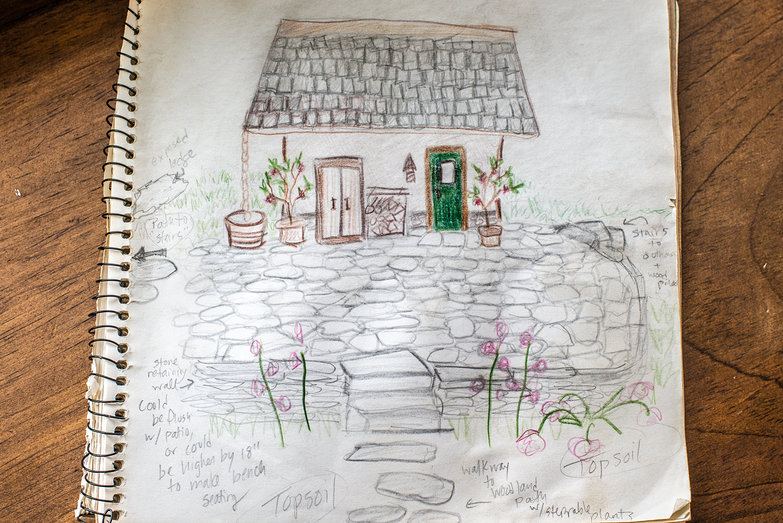 Tara's Sketch of Landscaping & Patio Project