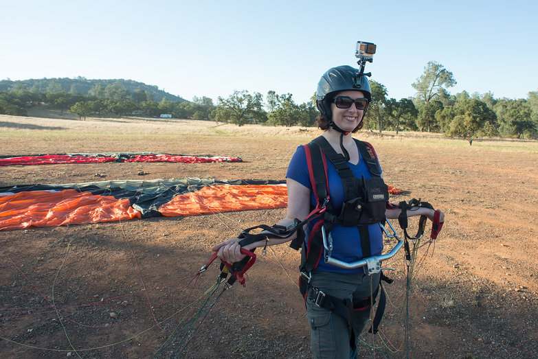 Tara with Paragliding Wing, Ready to Be Towed