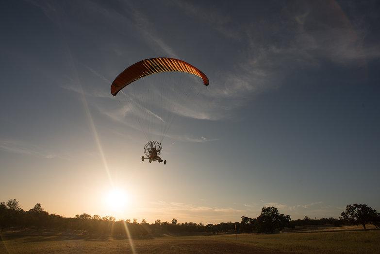 Tara Taking Off for First Flight (in LowBoy II Quad Paramotor)