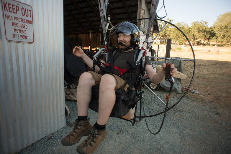 Tyler in a Powered Paragliding Simulator