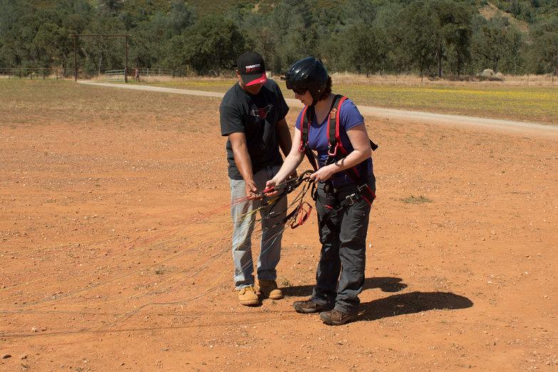 Joe Teaching Tara How to Kite a Paragliding Wing