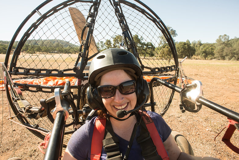 Happy Tara in BlackHawk Lowboy II Paramotor Quad
