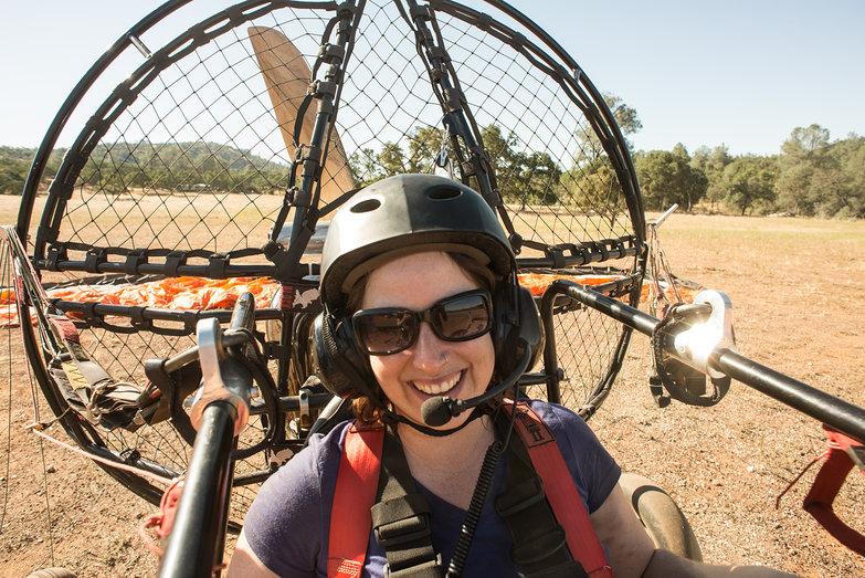 Happy Tara in BlackHawk Lowboy II Paramotor Quad