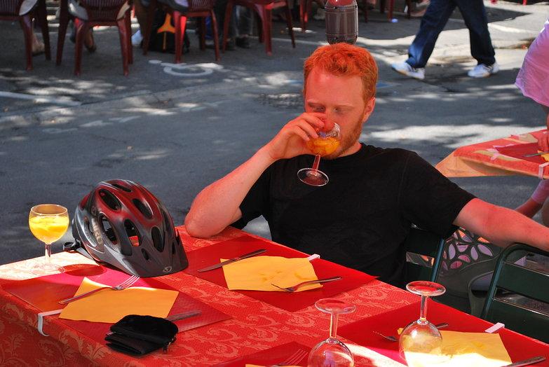 Tyler Drinking Free Sangria