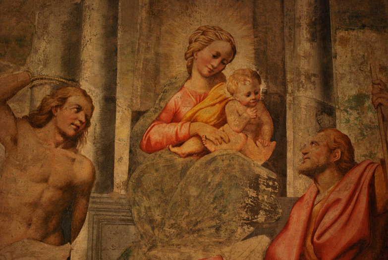 Madonna in trono fra i Santi Sebastiano e: Rocco Bernardino Gatti Detto il Soiaro