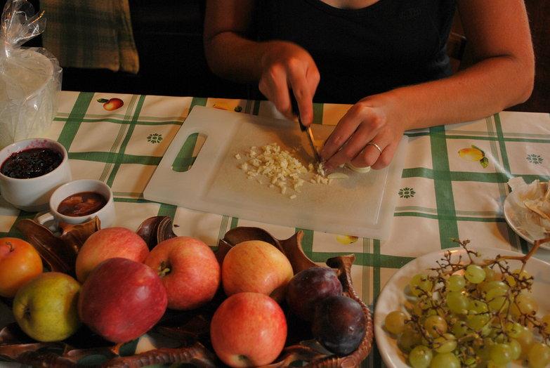 Tara Cutting Garlic