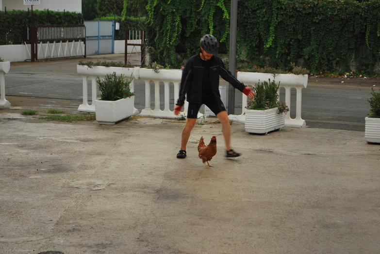 Tyler Corralling a Hen